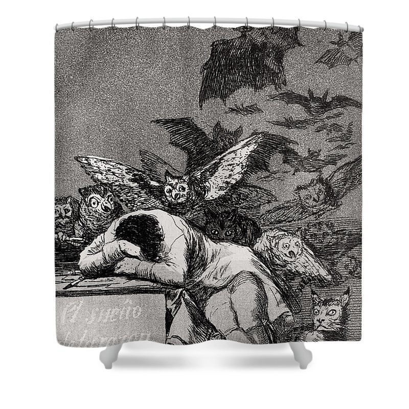Goya Shower Curtain featuring the drawing The Sleep of Reason Produces Monsters by Goya