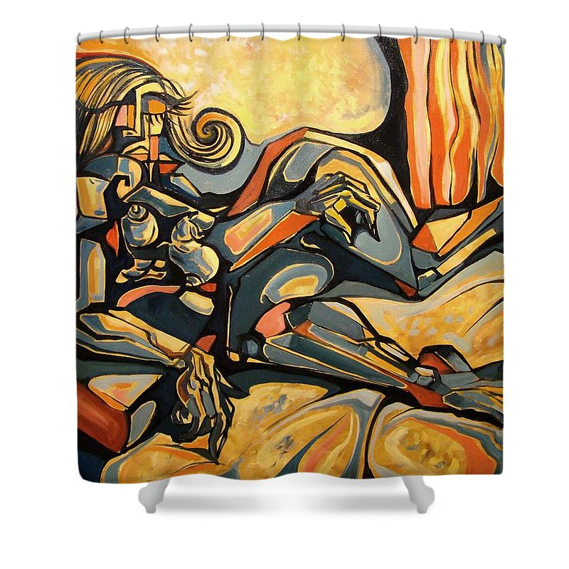 Surrealism Shower Curtain featuring the painting The Sleeping Muse by Darwin Leon