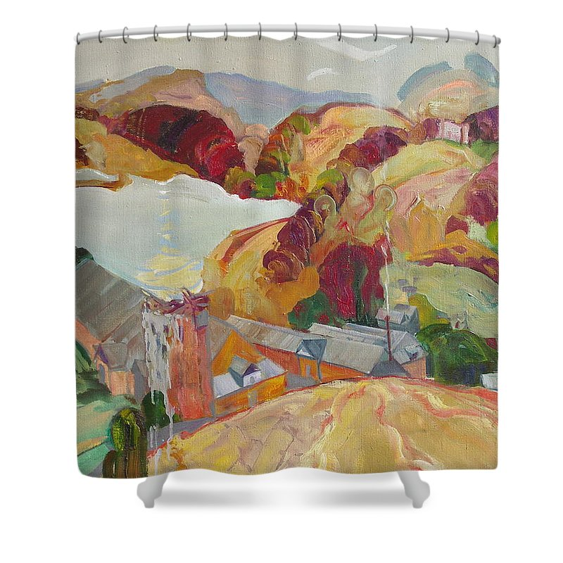 Oil Shower Curtain featuring the painting The Slovechansk Edge by Sergey Ignatenko