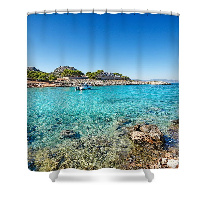Sail Shower Curtain featuring the photograph The Small Island Aponisos Near Agistri Island - Greece by Constantinos Iliopoulos