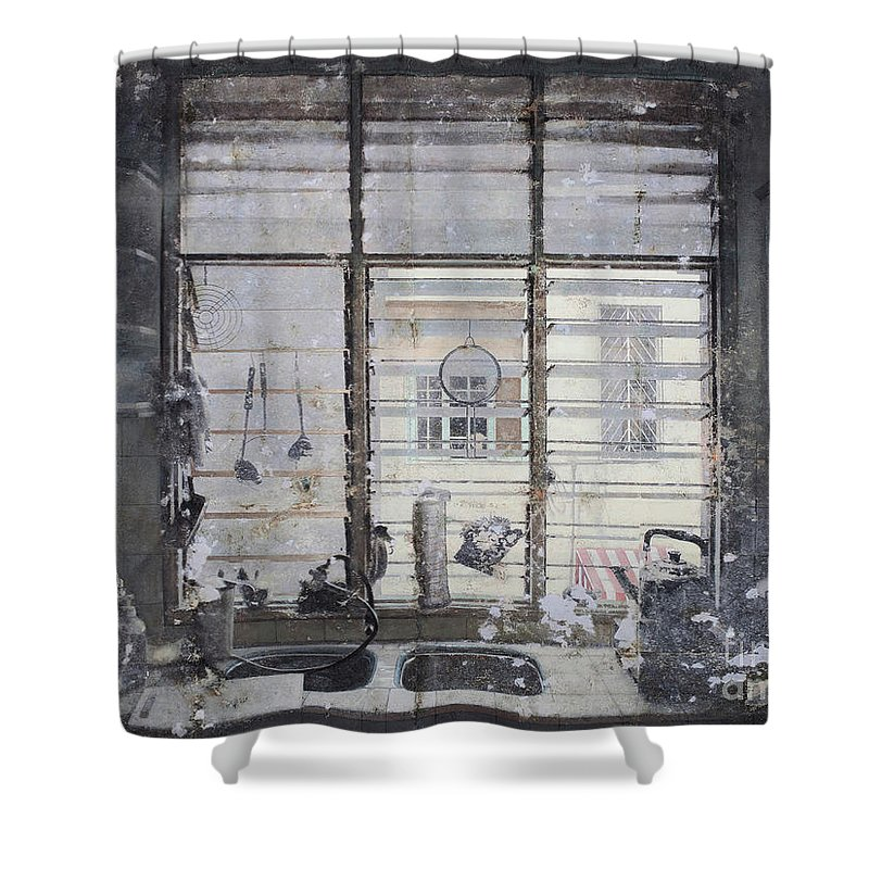 Linger Series Shower Curtain featuring the painting The Smell Of Cooking - Drift by Tuck Wai Cheong