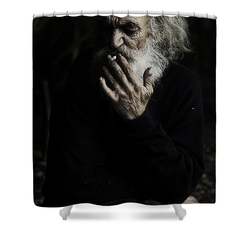 Homeless Male Smoking Smoker Aged Shower Curtain featuring the photograph The Smoker by Sheila Smart Fine Art Photography