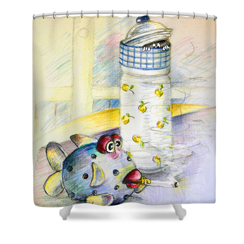 Fish Shower Curtain featuring the painting The Smoking Fish by Miki De Goodaboom