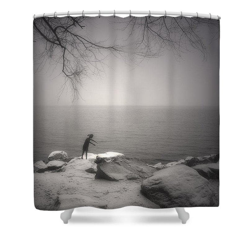 Statue Shower Curtain featuring the photograph The Snow Gatherer by Tara Turner