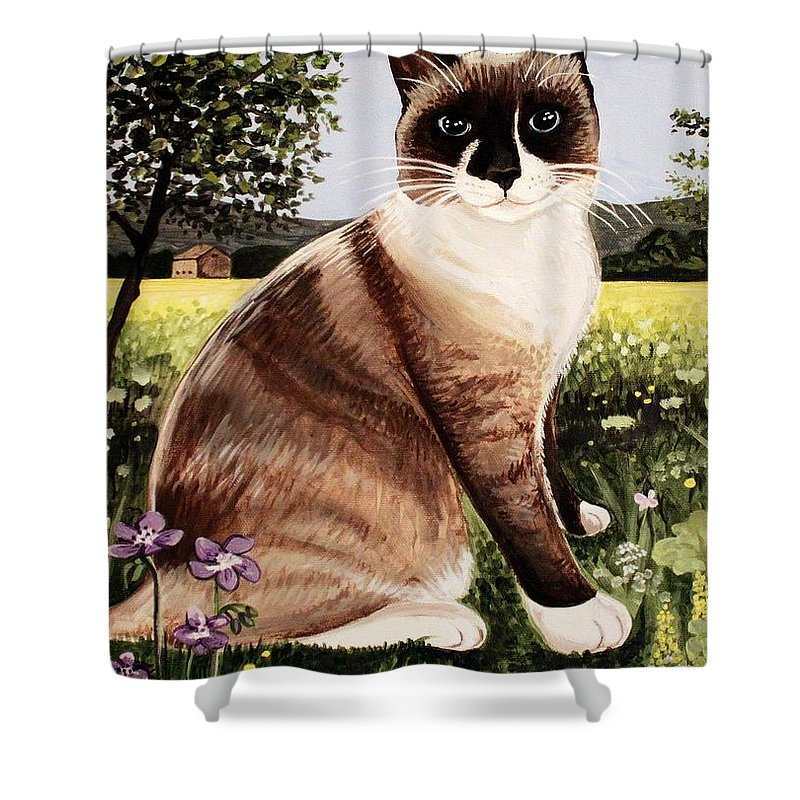 Pet Portrait Shower Curtain featuring the painting The Snowshoe Cat by Elizabeth Robinette Tyndall