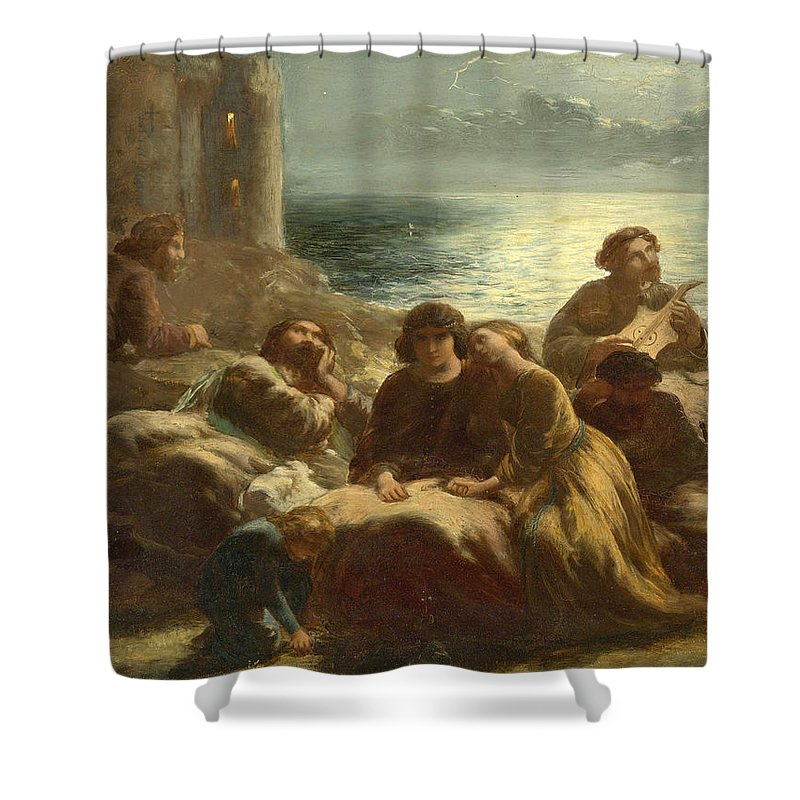 Paul Falconer Poole Shower Curtain featuring the painting The Song Of The Troubadours by Paul Falconer Poole