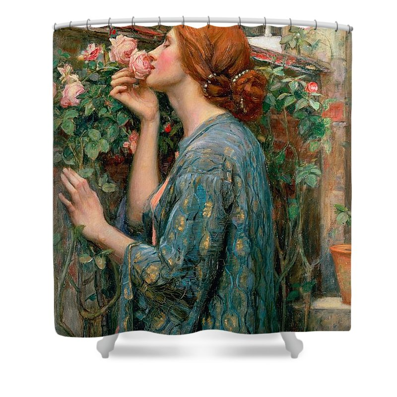 The Shower Curtain featuring the painting The Soul Of The Rose by John William Waterhouse