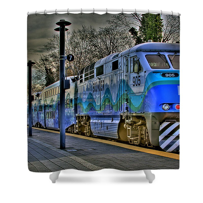 Train Shower Curtain featuring the photograph The Sounder by David Patterson