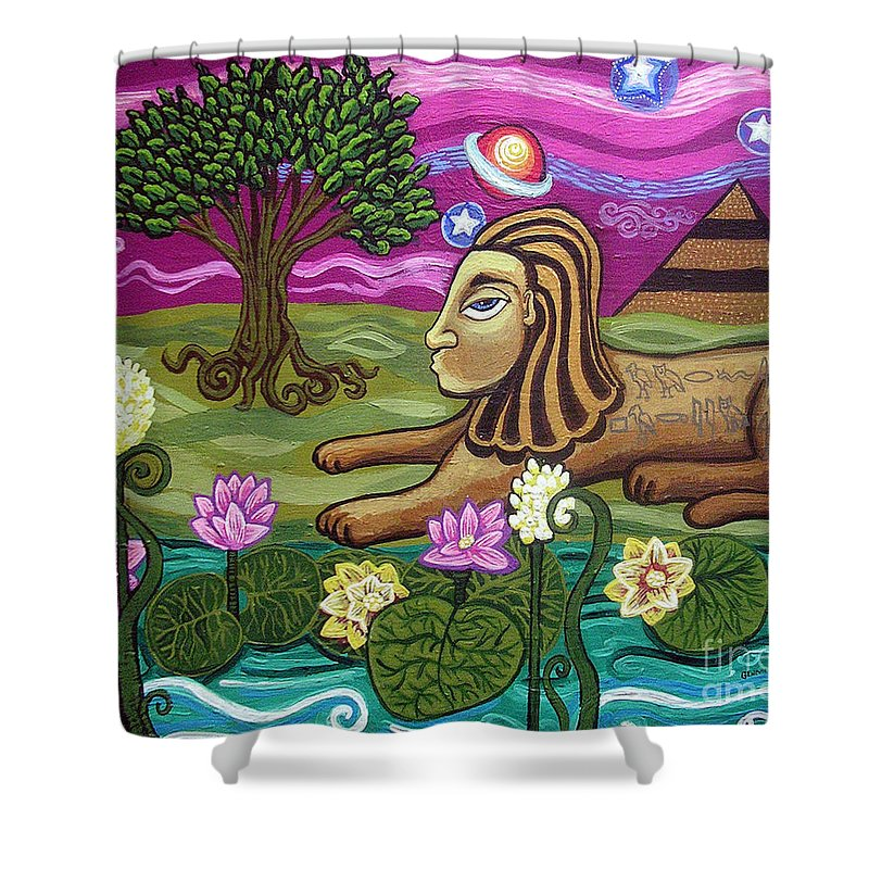 Egypt Shower Curtain featuring the painting The Sphinx by Genevieve Esson