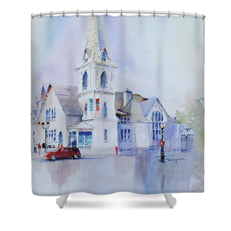 Visco Shower Curtain featuring the painting The Spire Center by P Anthony Visco