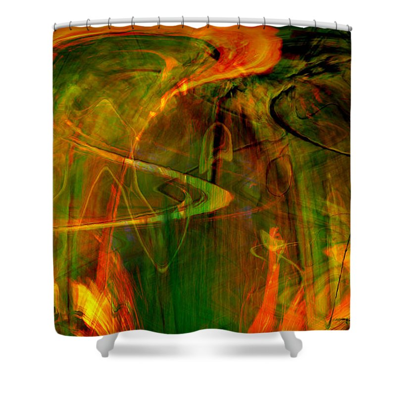 Abstract Digital Abstract Digital Painting Digital Art Design Dark Art Vibrant Art Yellow Shower Curtain featuring the digital art The Spirit Glows by Linda Sannuti