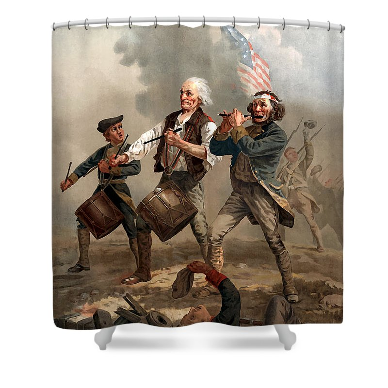 Yankee Doodle Shower Curtain featuring the painting The Spirit Of '76 by War Is Hell Store