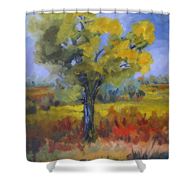 Spring Shower Curtain featuring the painting The Spring Tree by Heather Coen