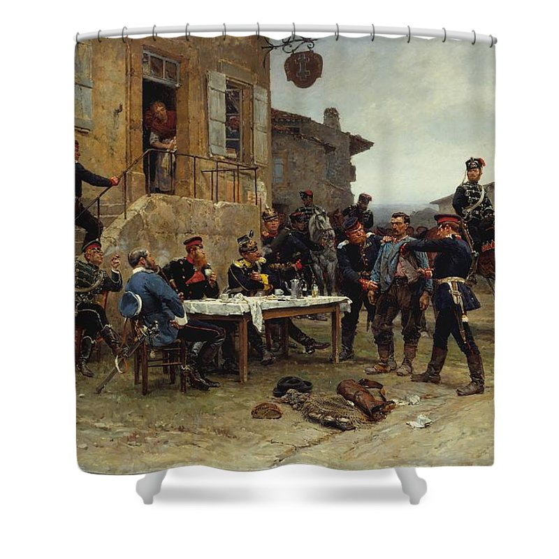 The Spy Shower Curtain featuring the painting The Spy by MotionAge Designs