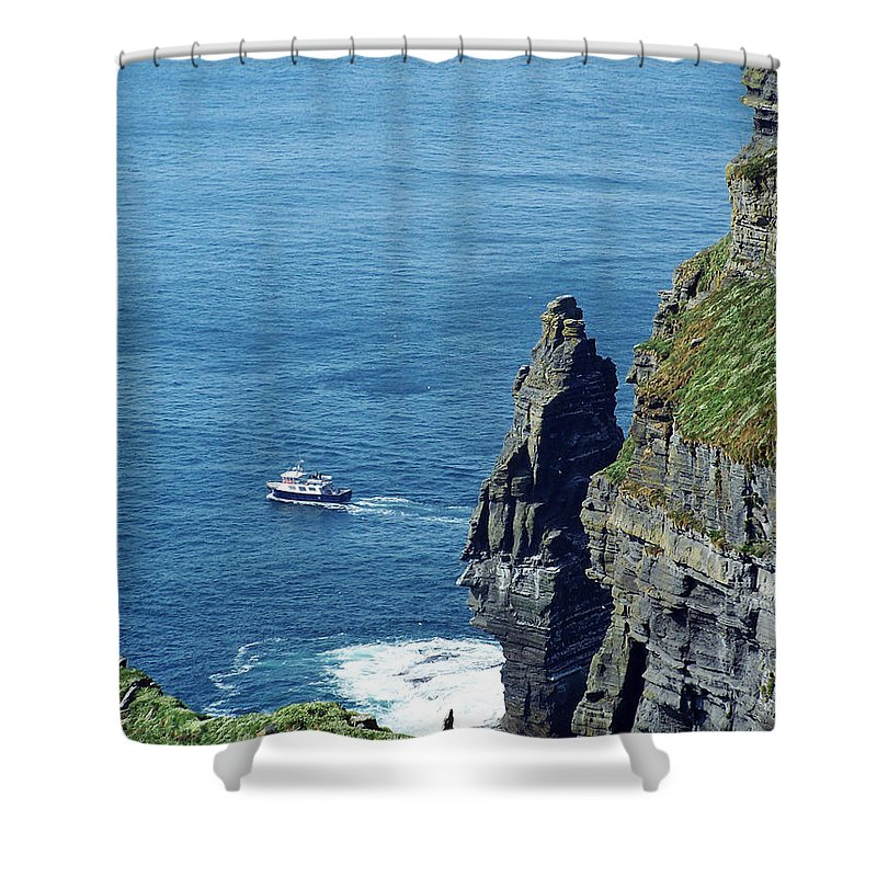 Irish Shower Curtain featuring the photograph The Stack And The Jack B Cliffs Of Moher Ireland by Teresa Mucha