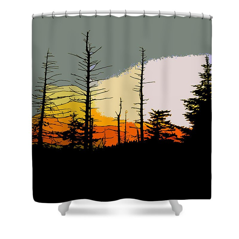 Forest Shower Curtain featuring the painting The Stained Glass Forest by David Lee Thompson