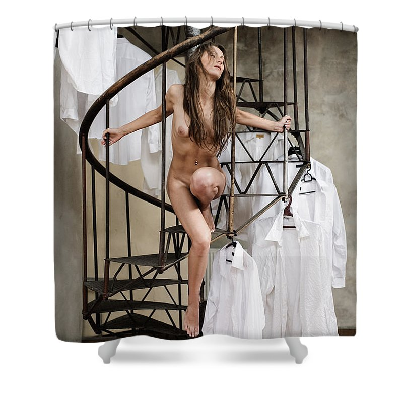 Sensual Shower Curtain featuring the photograph The Stairs by Olivier De Rycke