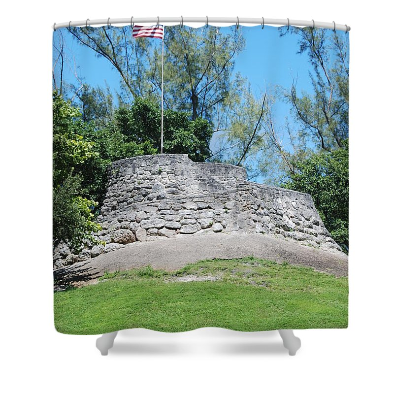 American Flag Shower Curtain featuring the photograph The Stand by Rob Hans