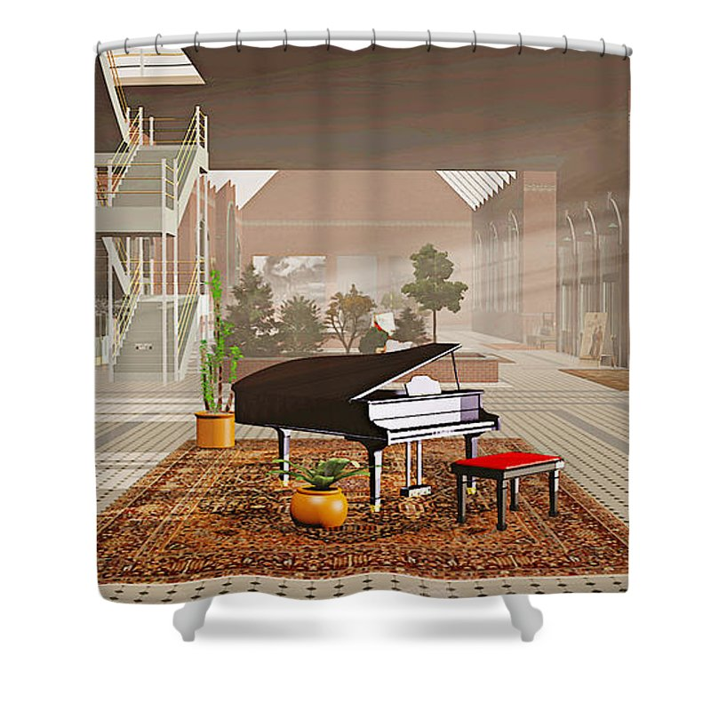 Piano Shower Curtain featuring the painting The Station by Peter J Sucy