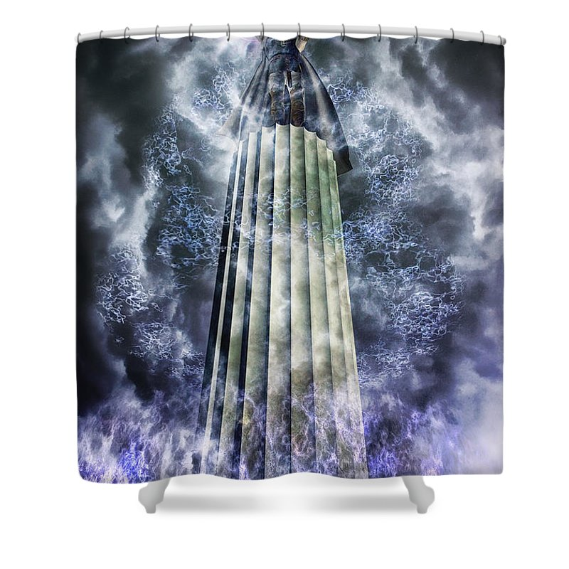 Clouds Shower Curtain featuring the digital art The Stormbringer by John Edwards