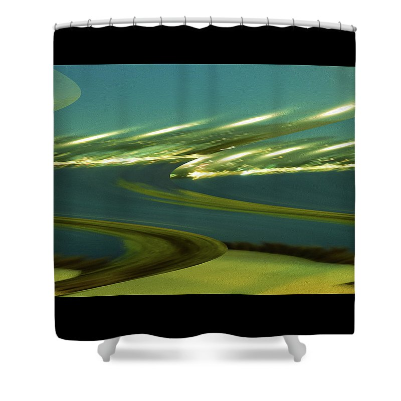 Art Shower Curtain featuring the digital art The Story Of Waves And Wind by Ryan Fox