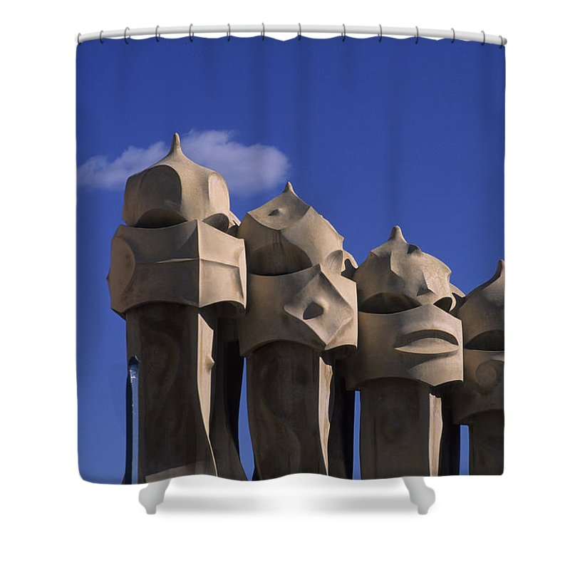 Antoni Gaudi Shower Curtain featuring the photograph The Strangely Shaped Rooftop Chimneys by Taylor S. Kennedy