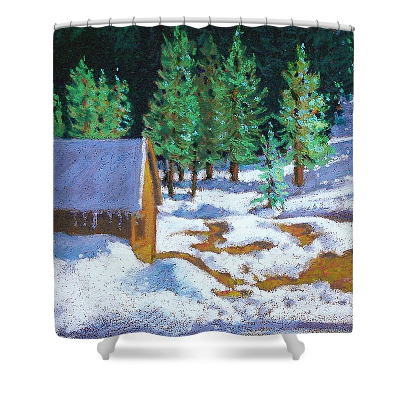 Sierras Shower Curtain featuring the painting The Strawberry Shed by Rhett Regina Owings