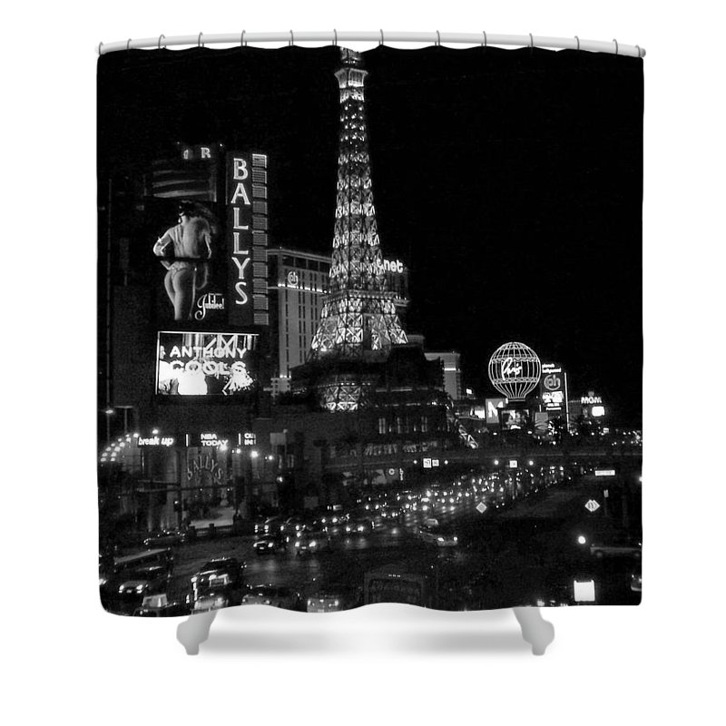 Las Vegas Strip Shower Curtain featuring the photograph The Strip By Night B-w by Anita Burgermeister