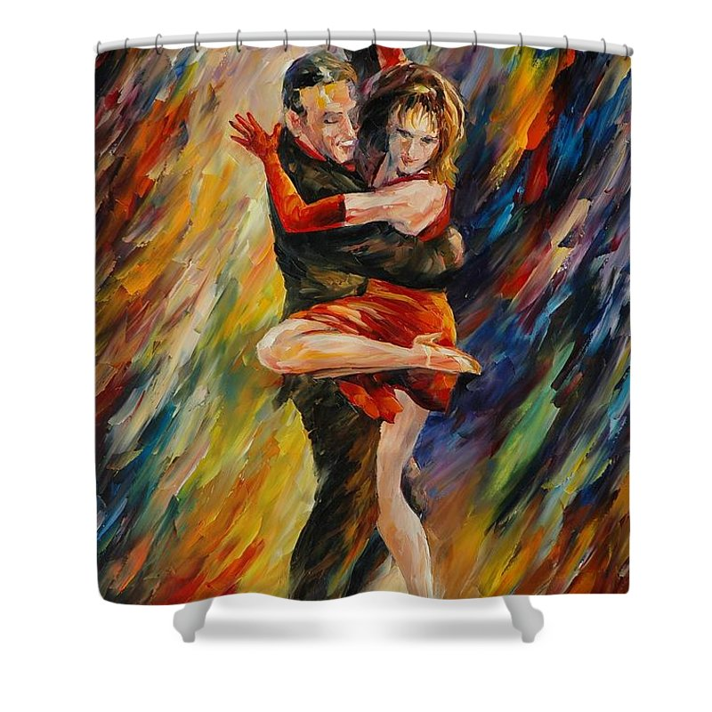 Dance Shower Curtain featuring the painting The Sublime Tango by Leonid Afremov