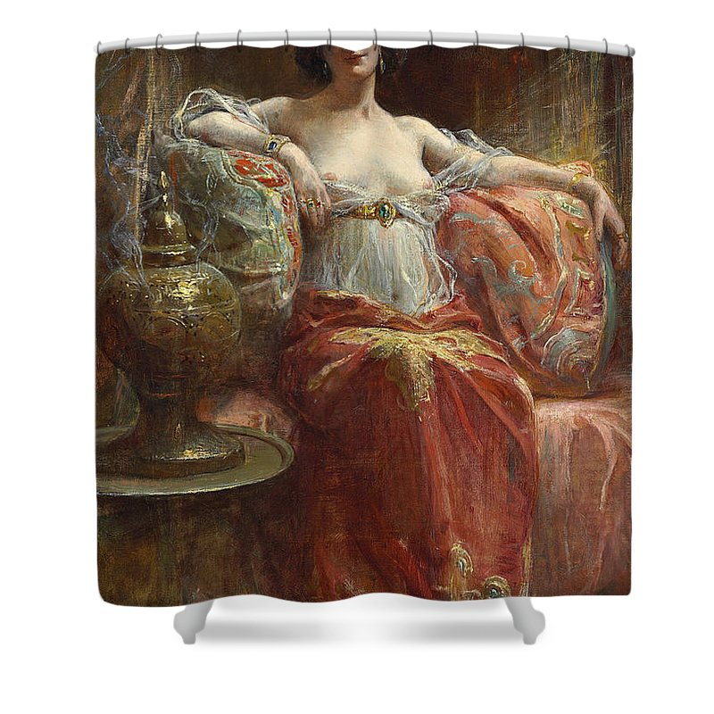 Henri Adrien Tanoux Shower Curtain featuring the painting The Sultan's Favourite by Henri Adrien Tanoux