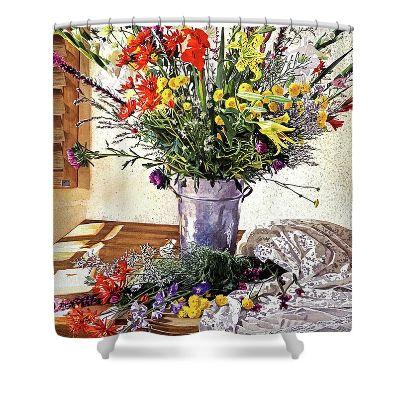 Still Life Shower Curtain featuring the painting The Summer Room by David Lloyd Glover