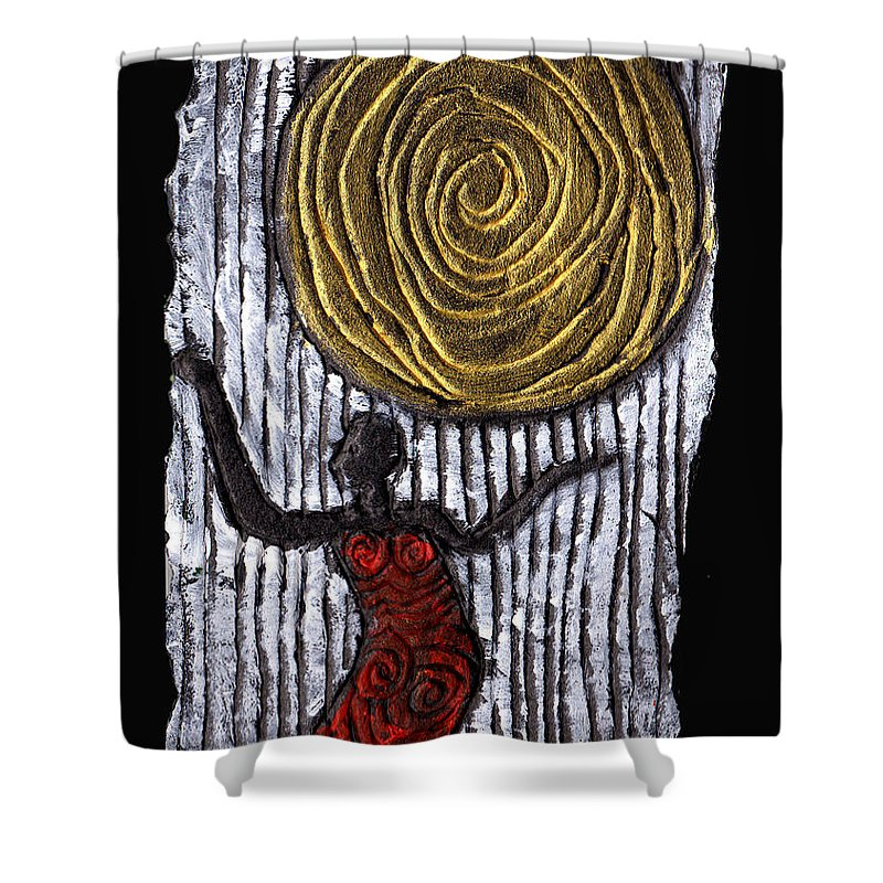 Woman Shower Curtain featuring the painting The Sun And I by Wayne Potrafka