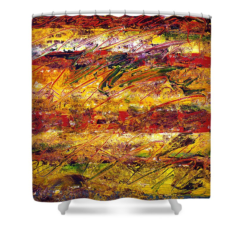Abstract Shower Curtain featuring the painting The Sun Rose One Step At A Time by Wayne Potrafka