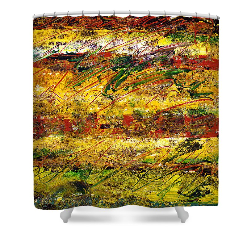 Abstract Shower Curtain featuring the painting The Sun Rose One Strip At A Time 1 by Wayne Potrafka