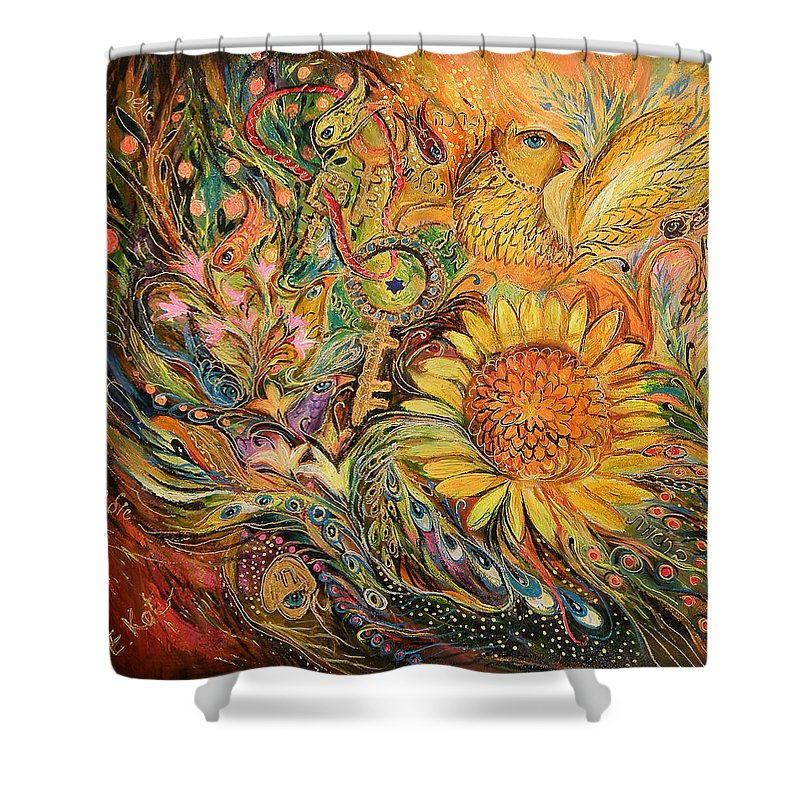 Original Shower Curtain featuring the painting The Sunflower by Elena Kotliarker