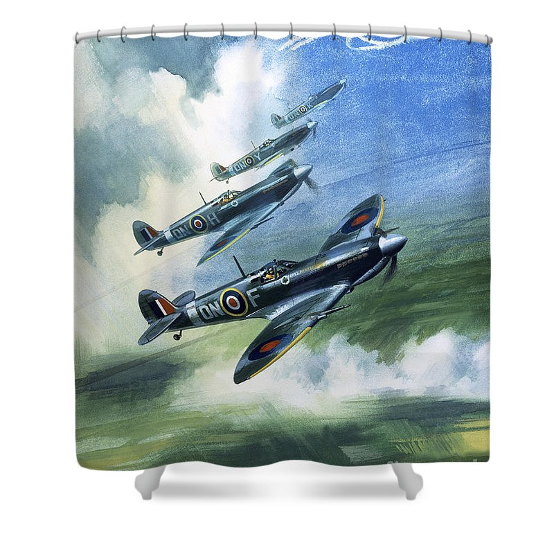 The Shower Curtain featuring the painting The Supermarine Spitfire Mark Ix by Wilfred Hardy