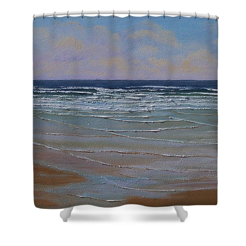 Seascape Shower Curtain featuring the painting The Surf Walker by Frank Wilson