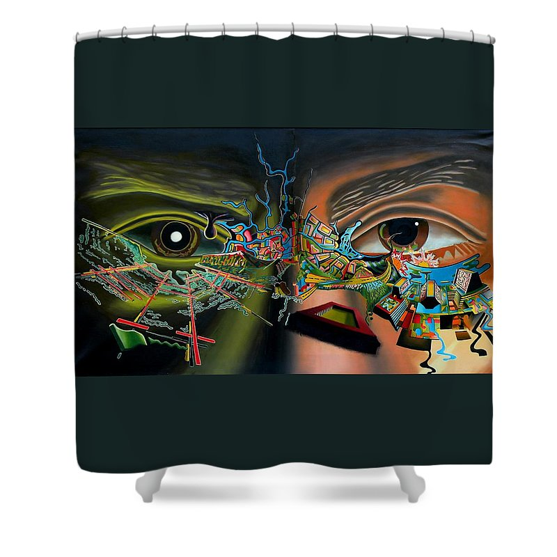 Surreal Shower Curtain featuring the painting The Surreal Bridge by Dave Martsolf