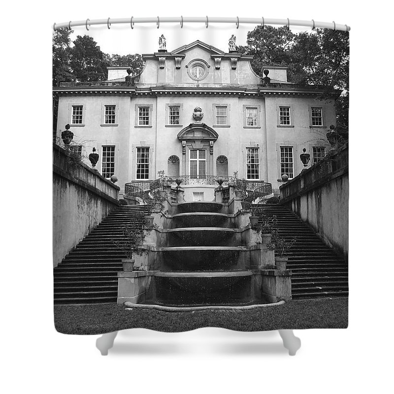 Historic Landmark Shower Curtain featuring the photograph The Swan House by Robert Meanor