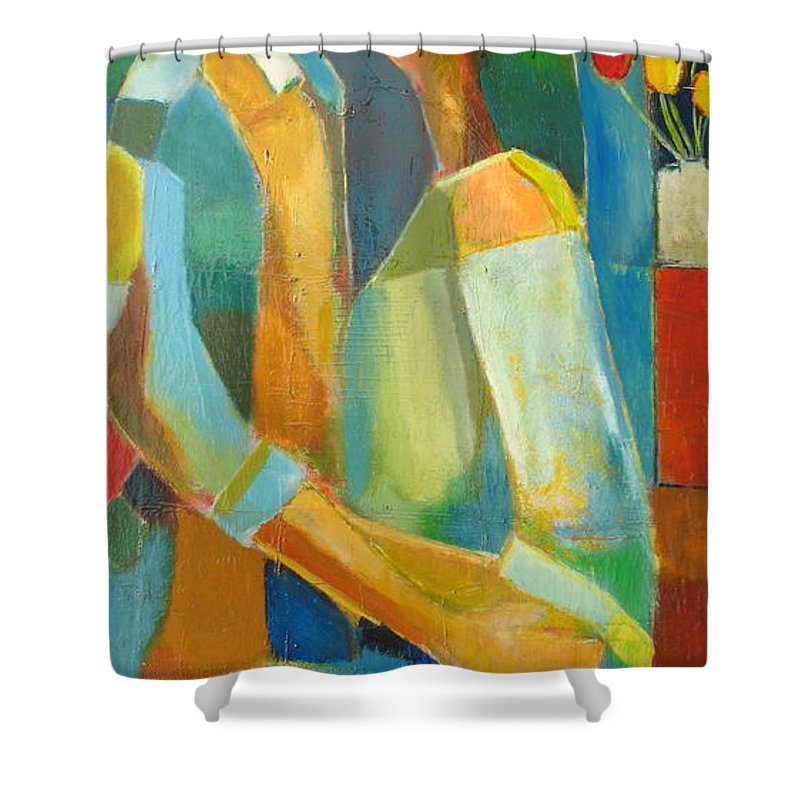 Love Abstract Shower Curtain featuring the painting The Sweet Kiss by Habib Ayat