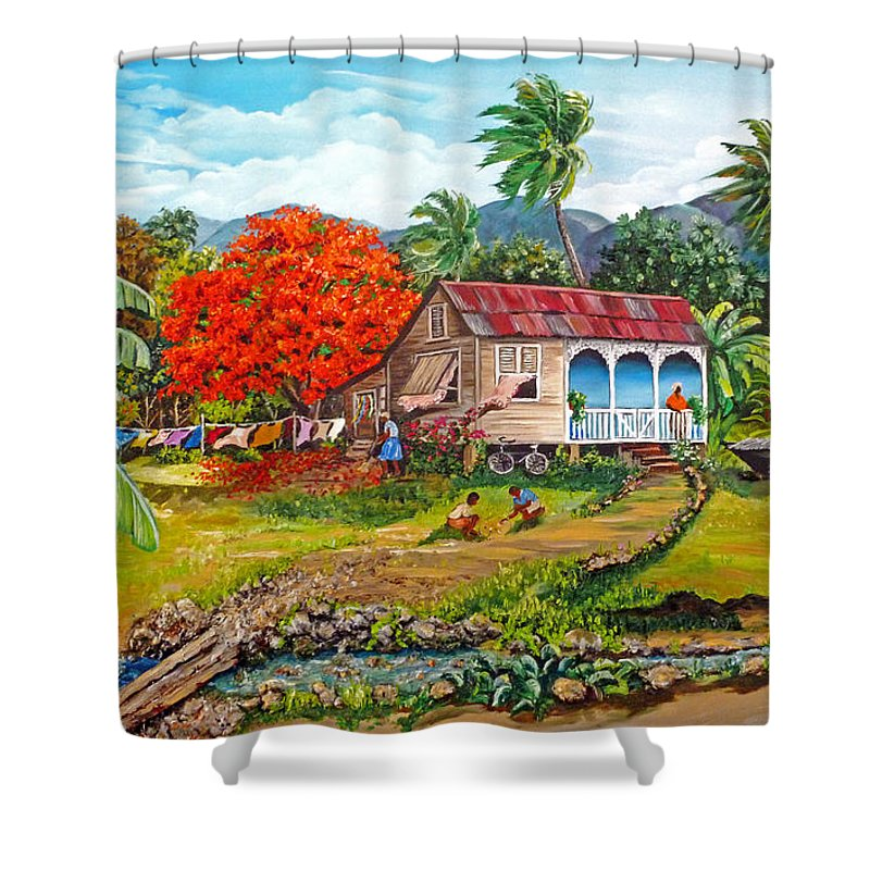 Tropical Scene Caribbean Scene Shower Curtain featuring the painting The Sweet Life by Karin Dawn Kelshall- Best