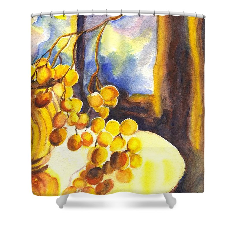 Grapes Shower Curtain featuring the painting The Sweeter The Grapes by Carol Wisniewski