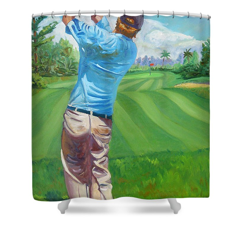 Golf Shower Curtain featuring the painting The Swing by D T LaVercombe