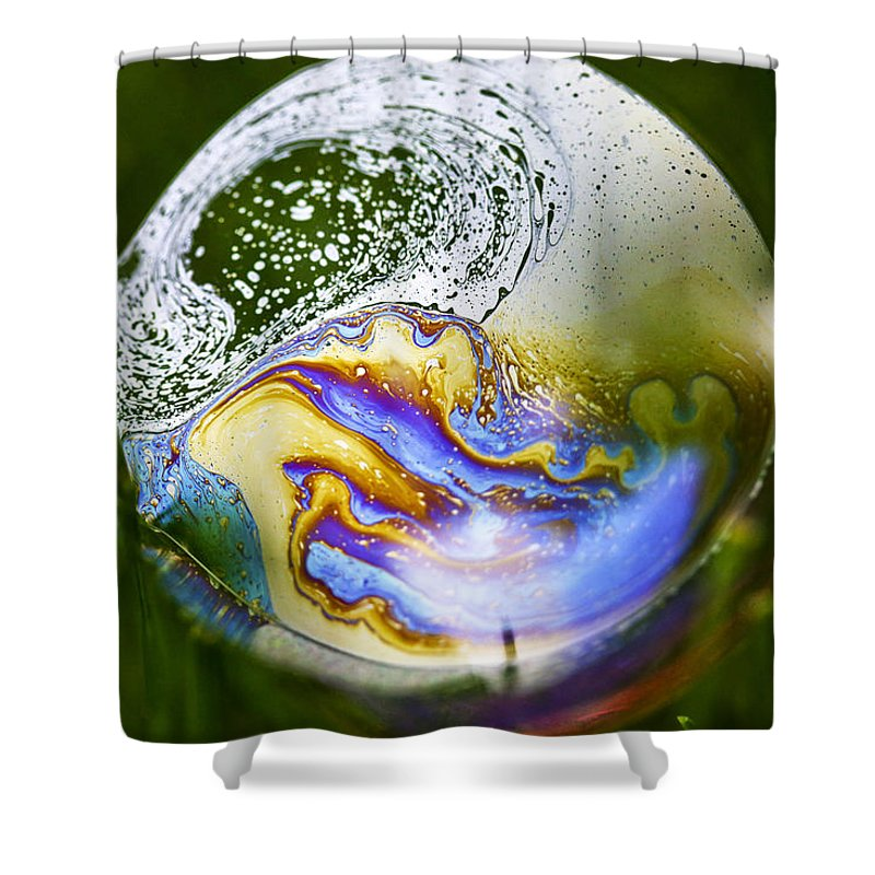 Rainbow Shower Curtain featuring the photograph The Swirled World by Meg Porter