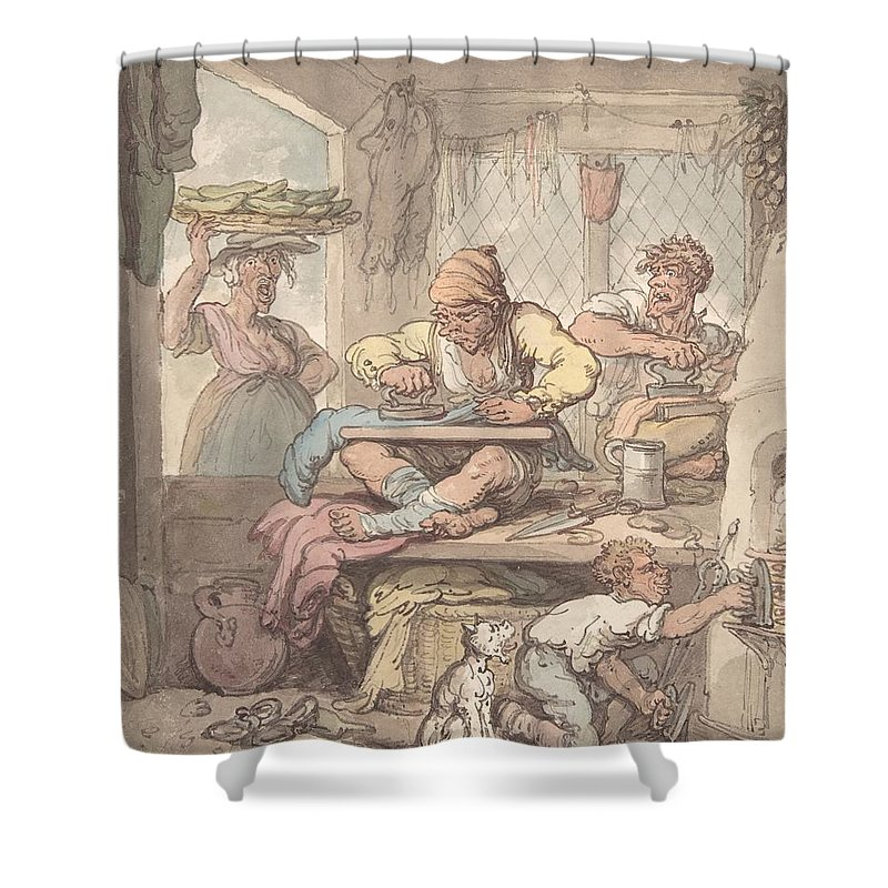 The Tailor 1814 By After Thomas Rowlandson Shower Curtain featuring the painting The Tailor by MotionAge Designs
