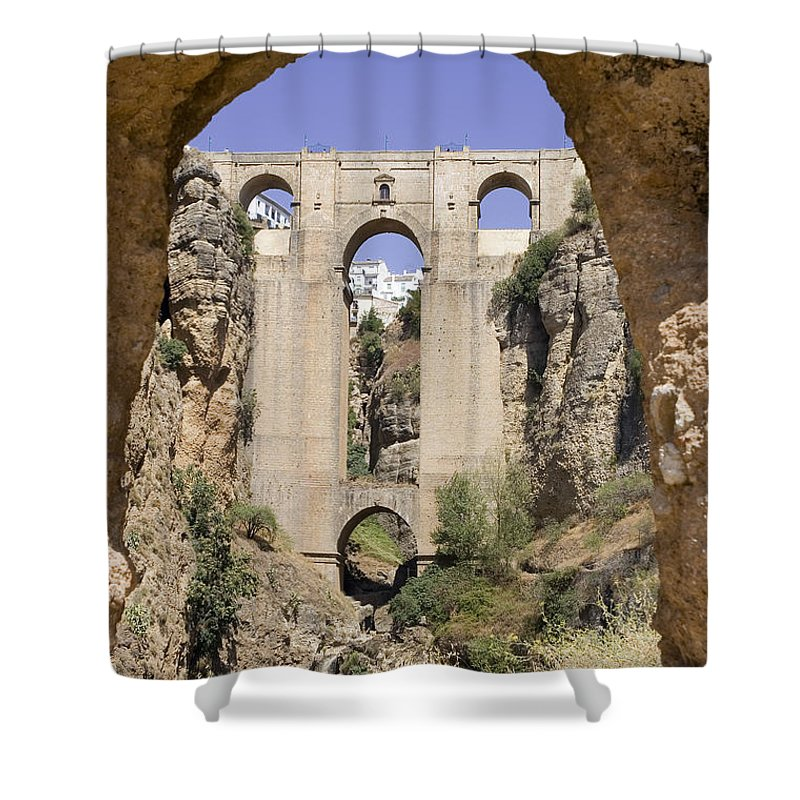 Ronda Shower Curtain featuring the photograph The Tajo De Ronda And Puente Nuevo Bridge Andalucia Spain Europe by Mal Bray