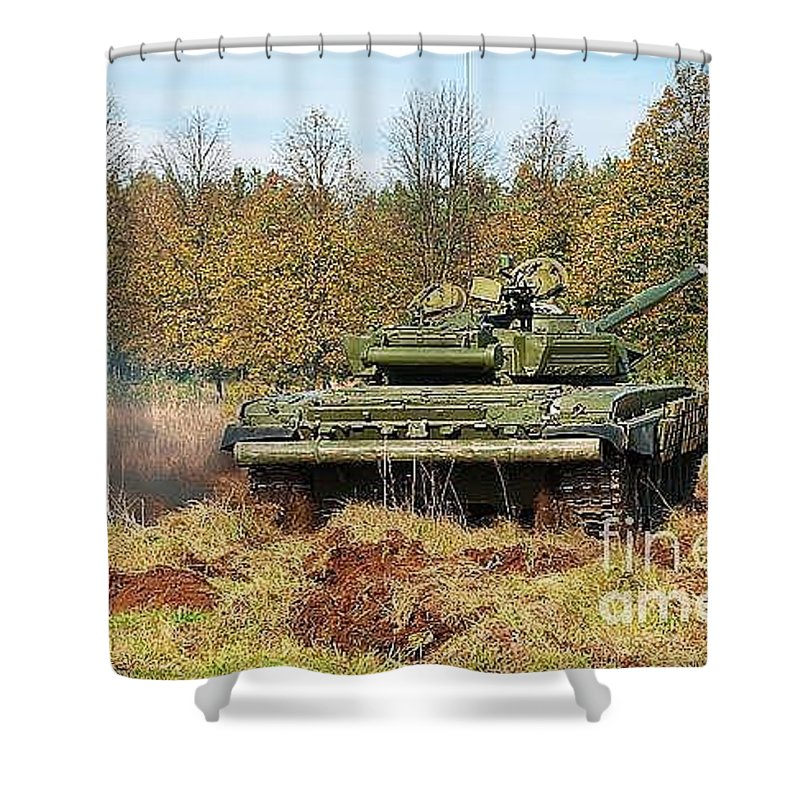 Armour Shower Curtain featuring the photograph The Tank T-72 In Movement by Vadzim Kandratsenkau