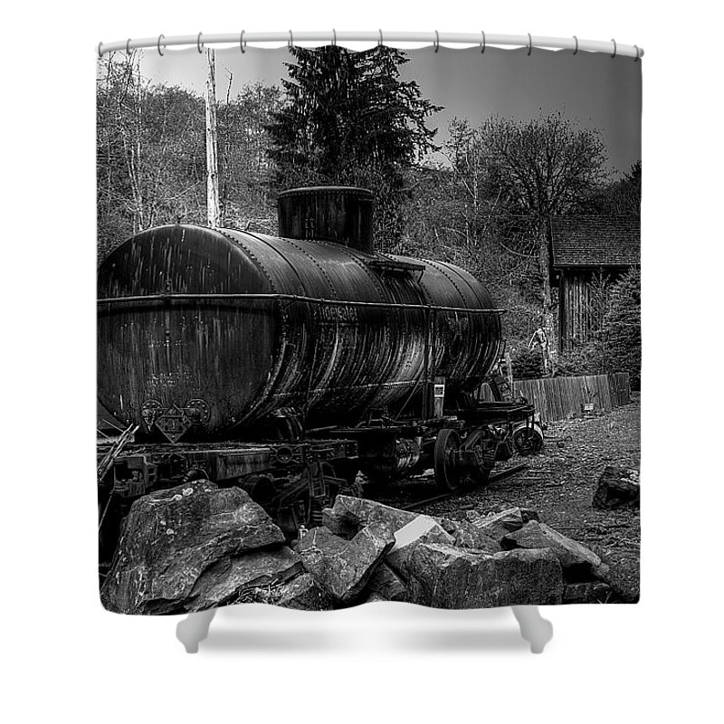 Black And White Shower Curtain featuring the photograph The Tanker Car by David Patterson