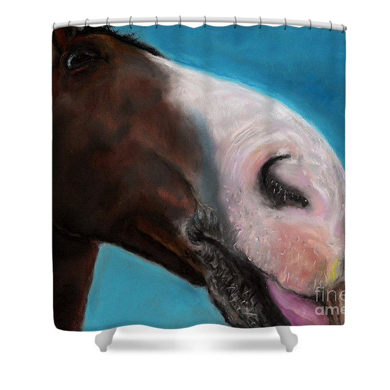 Abstract Horses Shower Curtain featuring the painting The Tasty Post by Frances Marino