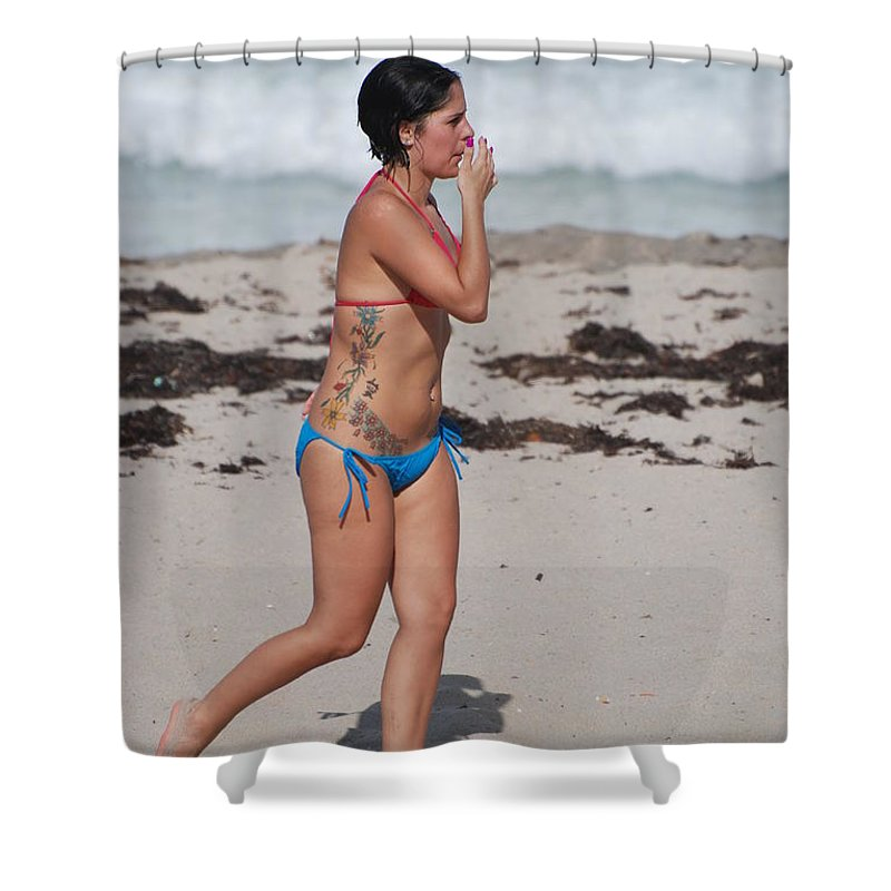 Sexy Shower Curtain featuring the photograph The Tattooed Lady by Rob Hans